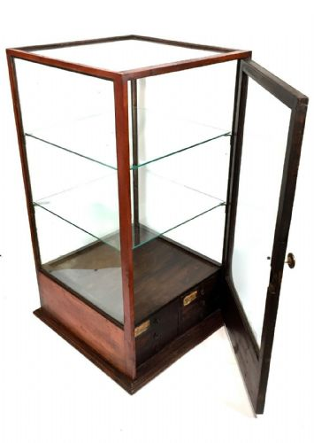 Edwardian Mahogany & Glass Shop Display Cabinet / Case / Antique Watchmakers